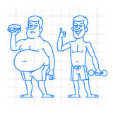 Thick and thin man characters doodle Royalty Free Stock Images