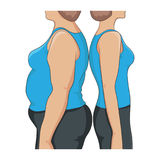 Thick and thin overweight problem concept. Two women standing back to back, with fat and lean abdomen, arm and hips, side view. Before and after diet, fitness Royalty Free Stock Photo
