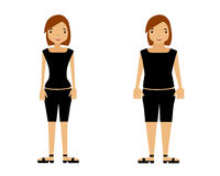 Thick and thin. Woman on a white background. Vector illustration Stock Photo