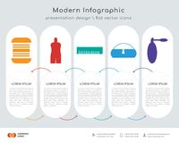Thick thread spool infographics design. Infographics design  and Thick thread spool, Male mannequin, Camera film strip, Rectangular pouch bag, Eyeglasses of thin Stock Photography