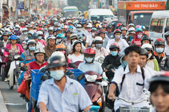 Thick traffic in Saigon Stock Photos
