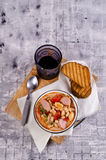 Thick vegetable soup. With beans and sausages. Selective focus stock images