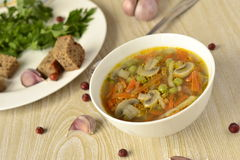 Thick vegetable soup with mushrooms Royalty Free Stock Photography