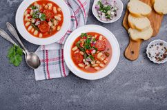 Thick vegetable soup with pasta royalty free stock photos