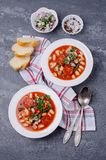 Thick vegetable soup with pasta stock photos