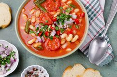 Thick vegetable soup with pasta royalty free stock photography