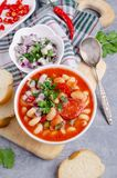 Thick vegetable soup with pasta stock images