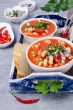 Thick vegetable soup with pasta royalty free stock images