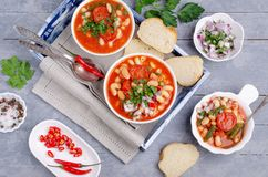 Thick vegetable soup with pasta stock image