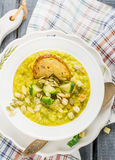 Thick vegetable soup puree with Brussels sprouts Royalty Free Stock Photo