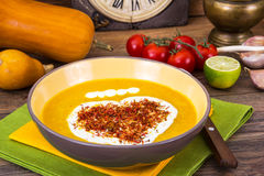 Thick vegetable soup with yoghurt and saffron royalty free stock photos