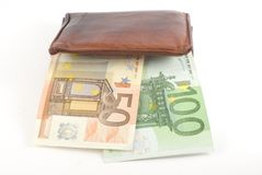 Thick Wallet. And euro banknotes. Isolated on white Royalty Free Stock Photo