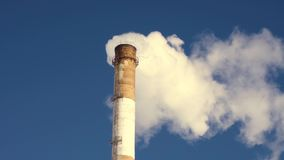 Factory chimney on the sky stock video footage