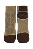 Thick wicking socks in brown color. Comfortable hiking soft sock Royalty Free Stock Photography