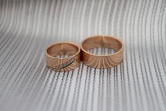 Thick wide wedding rings Royalty Free Stock Images