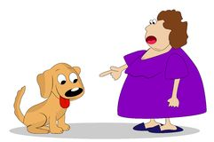 Thick a woman breaks dog Royalty Free Stock Images