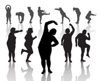 Thick women. 12 figures of thick women doing morning exercises Royalty Free Stock Photo