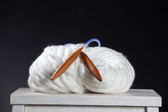 Thick Yarns. Skein with needle Royalty Free Stock Photo