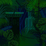 Thicket foliage jungle nature background. Dark night green and blue palm leaves, tree branches and mayan columns vector vector illustration