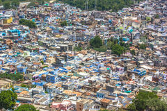 Thickly populated residential area India. Bird eye view of Dungarpur city of Rajasthan/India Stock Photos