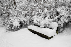 Thickly snow-covered bench, trees, bushes in park. Fresh, thickly snow-covered bench, trees, bushes in park, beautiful winter scene in overcast day Royalty Free Stock Image