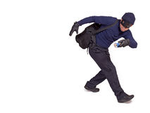 Thief. With hand torch on white background Royalty Free Stock Photo