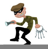 Thief. Cartoon thief with flashlight and skeleton keys Stock Image