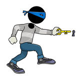 Thief. Silhouette-man crime play - thief with key to a key hole Royalty Free Stock Image