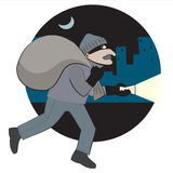 Thief. Vector ullusration: thief with loot runs through the city Royalty Free Stock Images