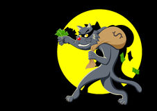 Thief. Cartoon illustration of a cat with a bag of money being spotlighted Royalty Free Stock Photo