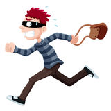 Thief. Illustration of Thief running with bag Stock Photos
