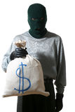 Thief. An image of a man in mask with  bag Royalty Free Stock Photography