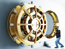 Thief in action. Armed thief and bank golden vault door 3d Royalty Free Stock Images