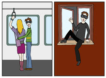 Thief in action. Illustration of a thief in action: one going inside an house by the open window and one stealing from a lady bag on the underground train Stock Image