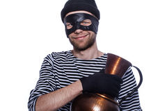 Thief with antique vase. Royalty Free Stock Photos