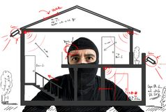 Thief apartment. Studying security system of a new house Royalty Free Stock Photography