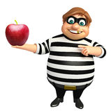 Thief with Apple. 3d rendered illustration of Thief with Apple Stock Photo