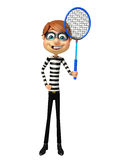 Thief with Badminton. 3d rendered illustration of Thief with Badminton Stock Image