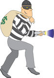Thief with bag of money and flashlight. Escaped Prisoner with mask and cap creeping around Stock Photos