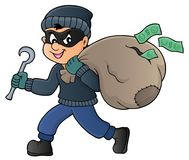 Thief with bag of money theme 1. Eps10 vector illustration royalty free illustration