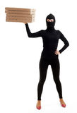 Thief in balaclava with boxes Stock Image