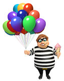 Thief with Balloon and Icecream Stock Image