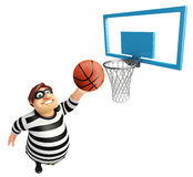 Thief with Basket ball & basket. 3d rendered illustration of Thief with Basket ball Royalty Free Stock Photography