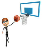 Thief with Basket ball and net. 3d rendered illustration of Thief with Basket ball and net Stock Photography