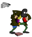 Thief being watched by camera. Thief stealing while being watched by camera stock illustration