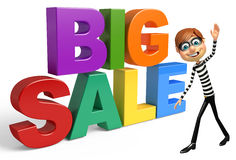Thief with Big sale sign Royalty Free Stock Photography