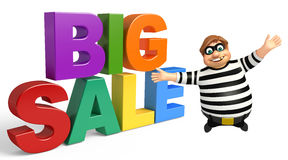 Thief with Big sale sign. 3d rendered illustration of Thief with Big sale sign Stock Photos