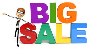 Thief with Big sale sign. 3d rendered illustration of Thief with Big sale sign Stock Photography