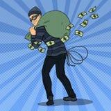 Thief in Black Mask Stealing Money. Pop Art retro illustration. Thief in Black Mask Stealing Money. Pop Art retro vector illustration Stock Photo