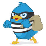 Thief Blue Bird. Clipart Picture of a Thief Blue Bird Cartoon Character Royalty Free Stock Images